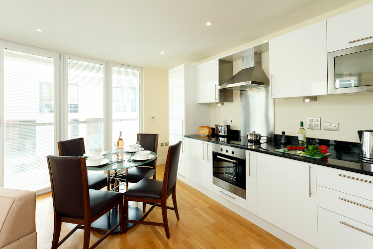 Dining space at Canary Wharf apartment