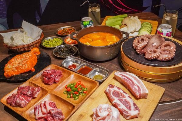 東區韓式汽油桶炭火烤肉:澳洲和牛四人套餐-專人桌邊代烤,道地韓式小菜無限吃-燒桶子韓風立燒