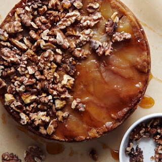 Brown Sugar Apple Upside Down Cake with Apple Cider Caramel and Spiced Walnuts.