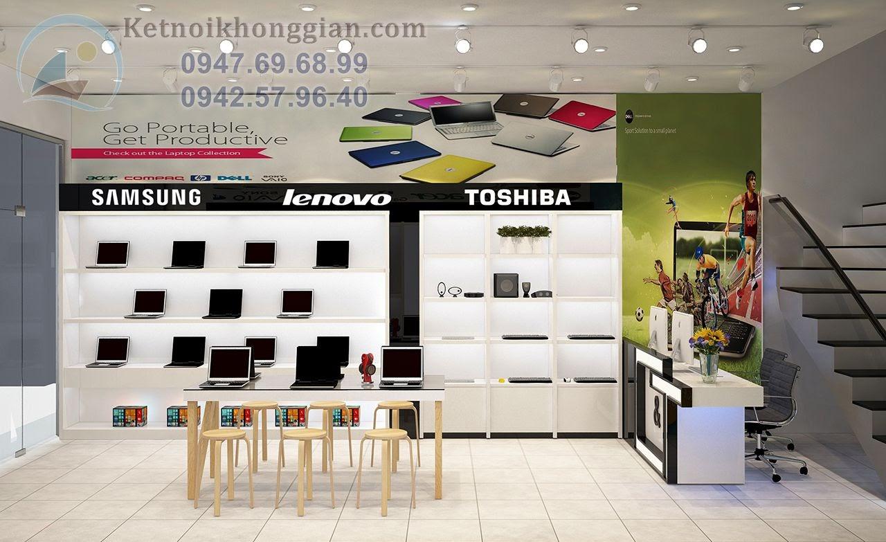 thiết kế cửa hàng máy tính đẹp mắt