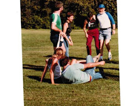 Photo: 1983 MTS Workshop, University of Alberta (UQV), Edmonton, Alberta, Canada - end of the 2-legged race - (foreground) Diane and Jim Bodwin, (background, l to r) Steve Burling, and Genie Wolfson.