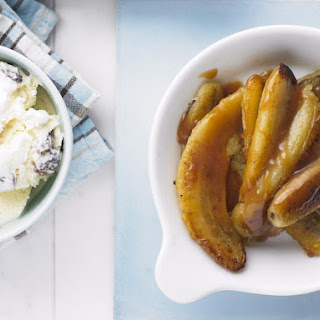 Caramel Bananas with Rum Raisin Ice Cream.