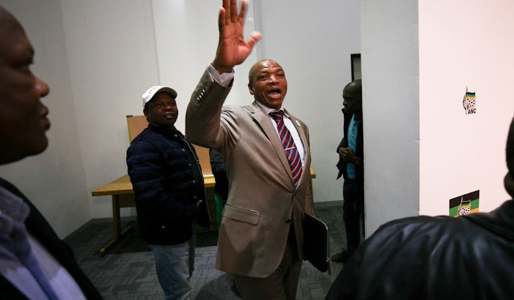 Former North West Premier, Supra Mahumapelo waves goodbye at a press conference where he announced his resignation. Picture: ALAISTER RUSSELL/THE SUNDAY TIMES