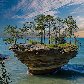 Peaceful by Bill Diller - Landscapes Waterscapes ( michigan, great lakes, tranquil, clouds, pte.aux barques, water, peaceful, turnip rock, calm, michigan's thumb, calmness, tranquility, thumb of michigan, lake huron )
