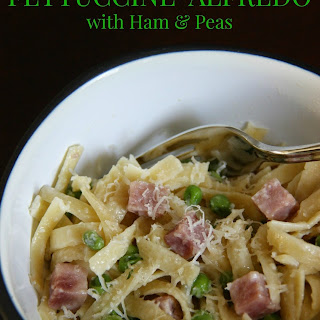 Fettuccine Alfredo with Ham and Peas.