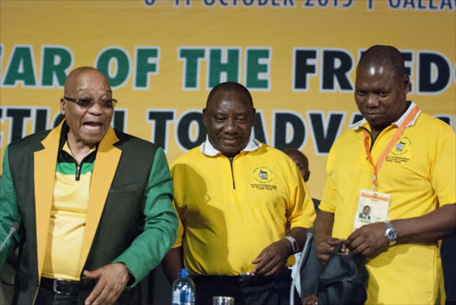 FROM LEFT: ANC president Jacob Zuma, deputy president Cyril Ramaphosa and ANC treasurer-general Zweli Mkhize.