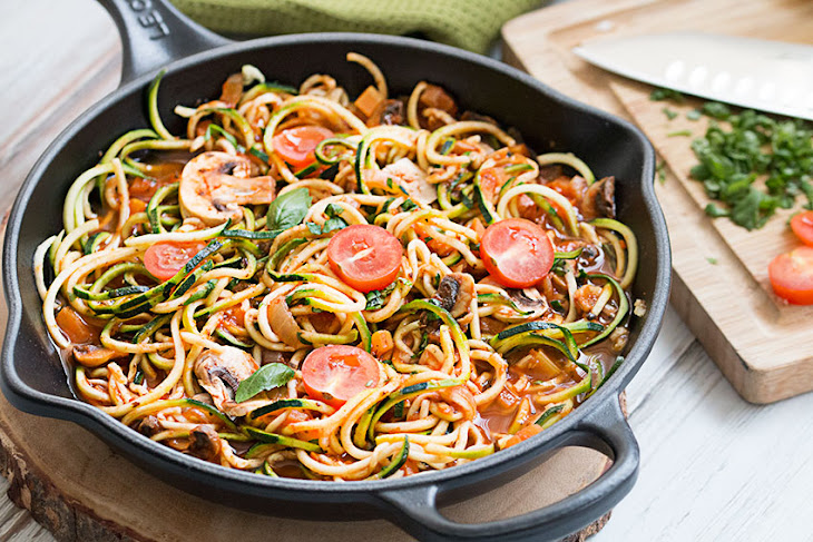 Zucchini Noodles with Tomato Vegetable Sauce (GF)(V) Recipe