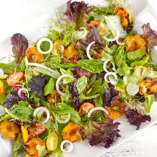 Grilled Apricot and Herb Salad with Pistachios and Lavender Buds