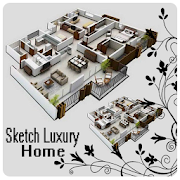 sketch luxury home design icon