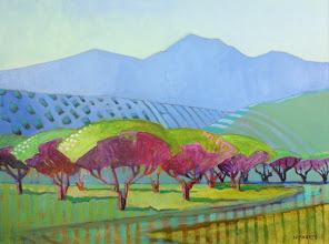 "Photo: ""Marsh Creek Orchard"", acrylic on canvas, 12"" x 16"", by Nancy Roberts, copyright 2015."