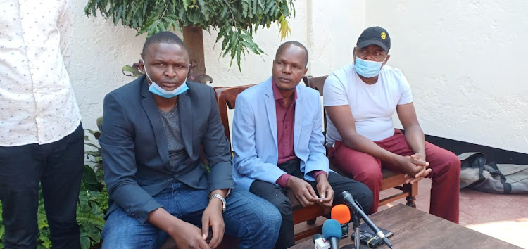 Migori county assembly speaker Boaz Okoth (centre) in Kisumu on Saturday, September 5, 2020