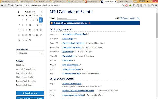 Academic Calendar Download