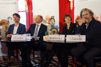 Photo: Bregenzer Festspiele/ Pressekonferenz am 27.5.2015 im Cercle Wien. Stefan Herheim, Präsident Metzler, Intendantin E. Sobotka, Marco Arturo Marelli. Foto: Peter Skorepa
