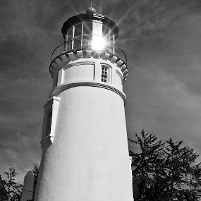 Afternoon Light by Jim O'Neill - Black & White Buildings & Architecture ( oregon, lighthouse, landscapes, umpqua, coast )