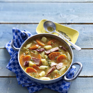 Root Vegetable and Smoked Pork Soup.