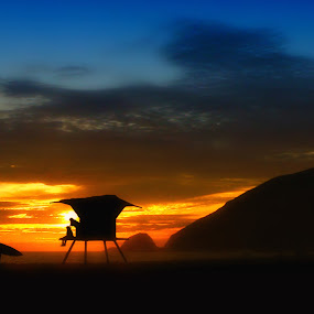 endless summer by Curtis Jones - Landscapes Beaches ( lifeguard, surfer, sunset, beach )