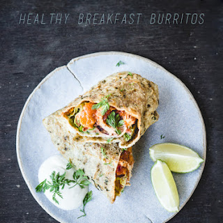Healthy Breakfast Burritos (make-ahead, with home made high protein/low carb/gf tortillas).
