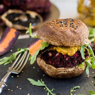Grilled Portobello Burger with Black Bean Beet Patty [Vegan, Gluten-Free] Recipe
