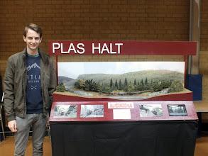 Photo: 126 Jon Potter with his Festiniog Railway 009 layout Plas Halt .