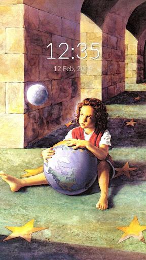 Girl Earth Moon Wall Lock