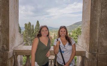 Photo: Kait and Alicia at a balcony in Villa d'Este in Tivoli, Lazio, Italy