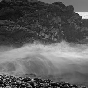by Alyson Jackson - Landscapes Beaches ( nature, wales, sea, pebbles, force, rocks )