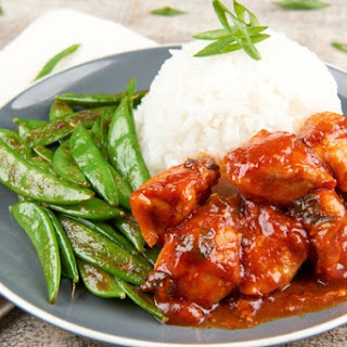 Chicken with Tiger Sauce with sugar snap peas and rice