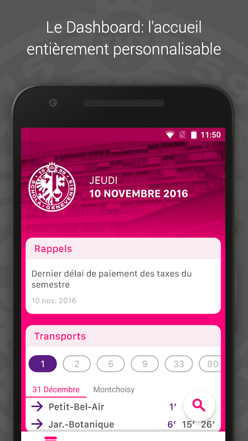 UNIGE Mobile- screenshot