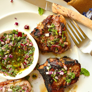 Grilled Icelandic Lamb Chops with Honey Herb Chimichurri