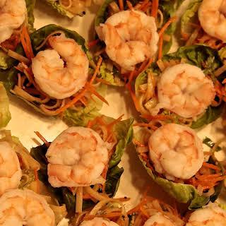 Thai Lettuce Wraps with Shrimp, Peanut Sauce & Chili Garlic Sauce.