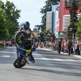 Stunt by Jovica Panić - City,  Street & Park  Street Scenes ( stunt, bikes, street, biker, show, street photography, bike )