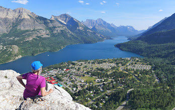 Photo: View of Upper Waterton Lake (Canada) from the Bear's Hump - The far end of the lake is in the USA.
