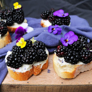 Blackberry Lavender Goat Cheese Crostini