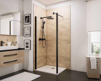 Paroi de douche fixe à l'italienne avec retour pivotant, style industriel, profilé noir