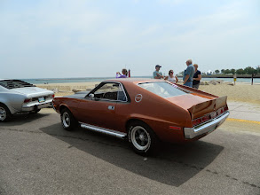 Photo: Colin and Suzanne's freshly-restored '70 AMX at a beach on the big lake in Kenosha