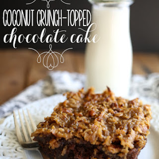 Coconut Crunch-Topped Chocolate Cake.