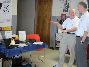 Photo: 3-24-2012. Bill and Ed chat it up while tending the croquet booth at Sandwich's Wellness Fair.