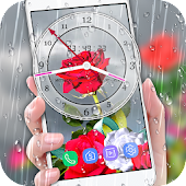 Rose Analog Clock 3D: Rain Drop Live Wallpaper HD
