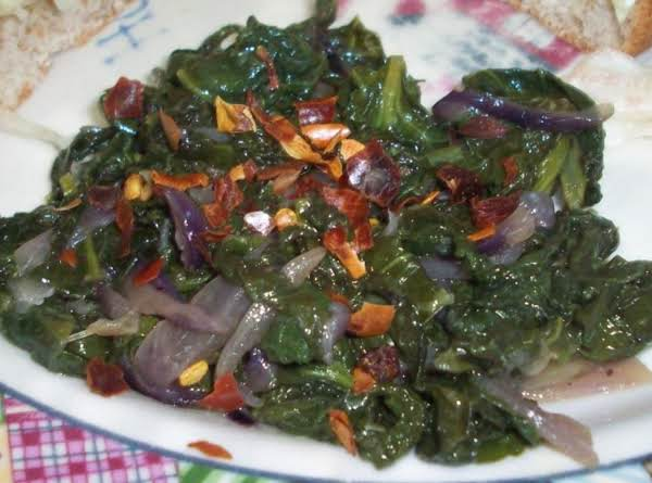 This Was Great. I Used Dwarf Kale That We Grow. I Added My Own Homemade Pepper Juice Instead Of Balsamic Vinegar.