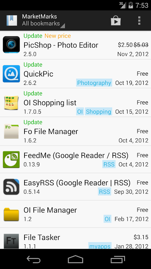 MarketMarks (App Bookmarks) - screenshot