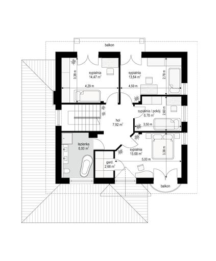 Willa diamentowa - Rzut piętra