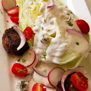 Classic Wedge Salad with Blackened Flatiron 'Croutons' and Blue Cheese