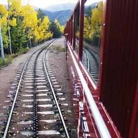 Pikes Peak Cog Railway by Rob Hallifax - Transportation Trains ( #colorado, #autumn, #fallcolor, #pikespeak, #railroad )