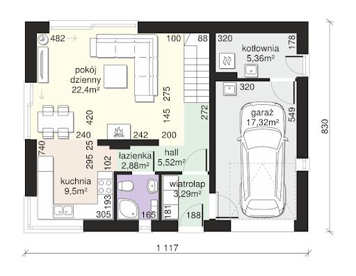 Dom przy Alabastrowej 38 - Rzut parteru