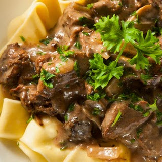 Creamy Beef Over Noodles CrockPot