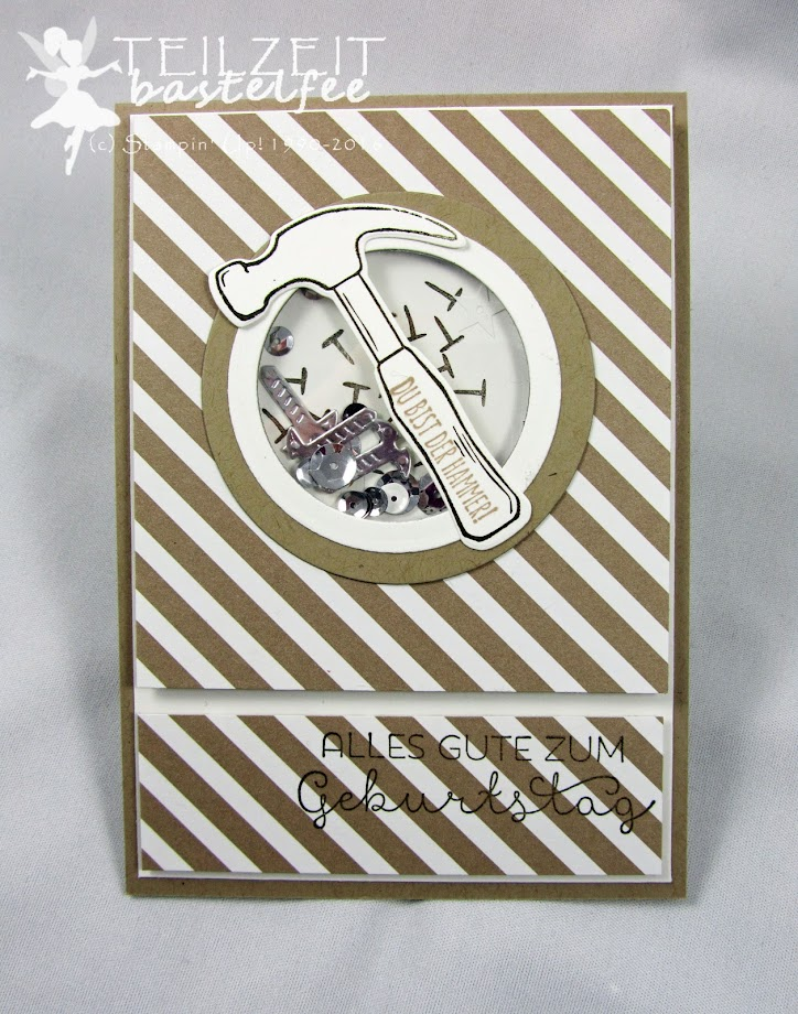 Stampin' Up! – In{k}spire_me #288, Sketch Challenge, Nailed it, Hammer, Framelits Werkzeugkasten, Build It Framelits Dies, Shaker Card, male card, Schüttelkarte, Männerkarte, Geburtstag, Birthday, Landlust, Cottage Greetings