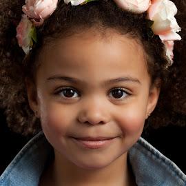 Emmy by Jeff Klein - Babies & Children Child Portraits ( jacket, jean, glamour, child, studio, fashion, headband, denim, cute, portrait, kid )