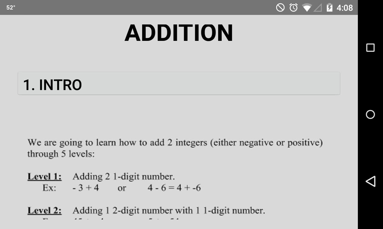 Worksheet Integer Math integer math two android apps on google play screenshot