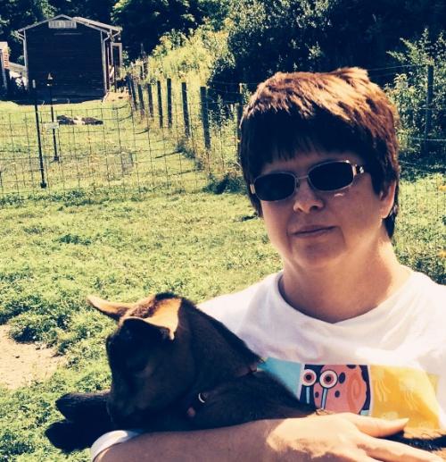 michelle liga with oberhasli goat kid