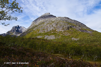 Photo: Hollendaren and Store Blåmann, on the island Kvaløya, outside Tromsø. The latter is a popular but rather steep and challenging hiking destination.